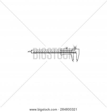 Vernier Caliper. Simple Flat Vector Icon Illustration. Outline Line Symbol - Editable Stroke