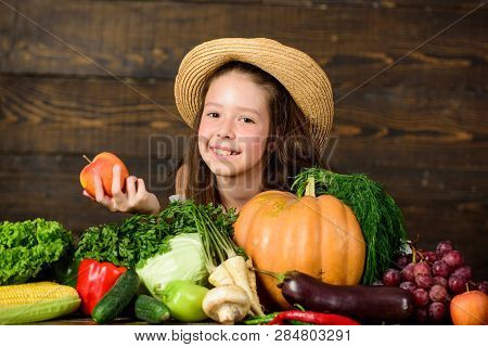 Traditional Autumnal Fest. Farm Activities For Kids. Girl Kid Farm Market With Fall Harvest. Child C