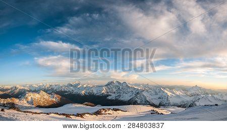 The Main Kavkazsvky Ridge, Gore Of Uzhba, Mount Shkhelda From The Southern Slope Of Mount Elbrus. Re