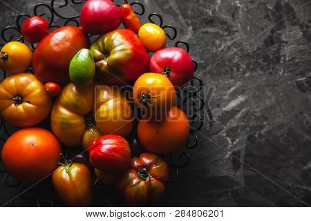 Tomatoes On A Gray Background, Healthy Food, Vegetables A