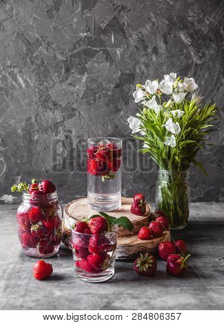 Fresh Strawberries In The Box On Wooden Vintage Table, Healthy Food, Fruit A