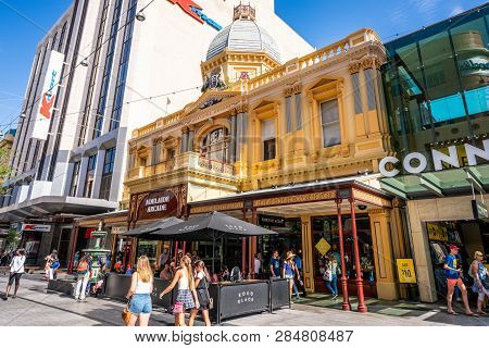 30th December 2018, Adelaide South Australia : Street View Of Adelaide Arcade Main Entrance On Rundl