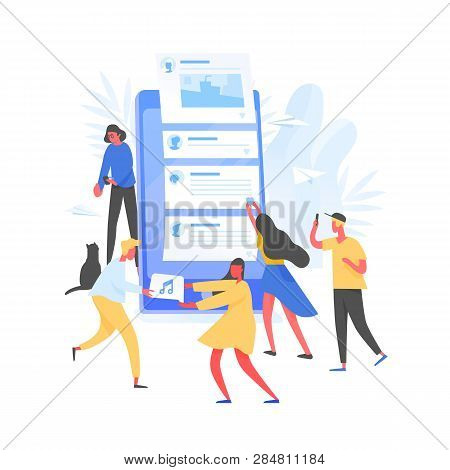 Group Of Young Men And Women And Giant Smartphone With Posts On Screen. Concept Of Internet Content