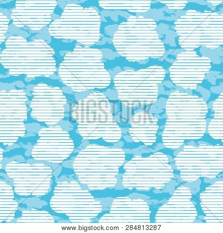 Fun Kids Arts And Crafts Mixed Media Collage Style Fluffy Clouds In A Blue Sky Background With Layer