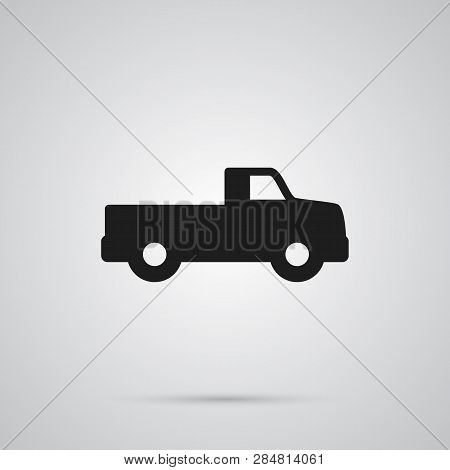 Isolated Dumper Truck Icon Symbol On Clean Background.  Pickup Element In Trendy Style.