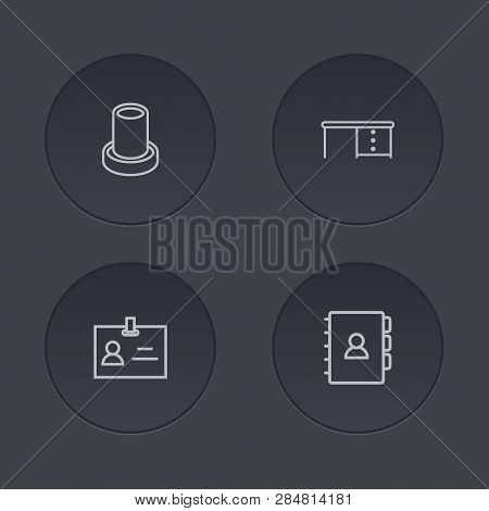 Set Of 4 Workspace Icons Line Style Set. Collection Of Stand, Data, Address Elements.