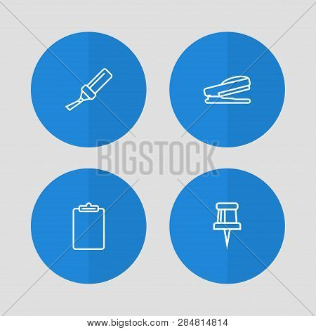 Set Of 4 Stationery Icons Line Style Set. Collection Of Information, Pin, Highlighter And Other Elem