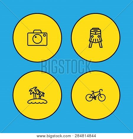 Set Of 4 Travel Icons Line Style Set. Collection Of Train, Bicycle, Camera And Other Elements.