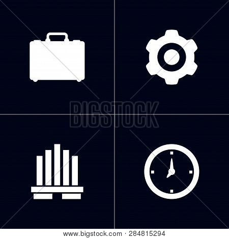 Set Of 4 Management Icons Set. Collection Of Business Center, Portfolio, Gear And Other Elements.
