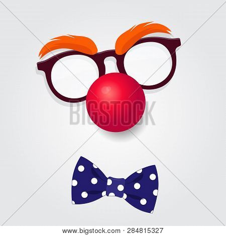 Funny Clown Accessories. Clown Glasses, Red Nose And Bow Tie On White Background. Vector Illustratio