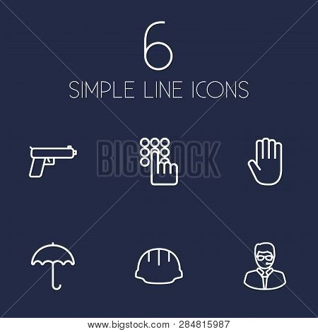 Set Of 6 Security Icons Line Style Set. Collection Of Umbrella, Palm, Security And Other Elements.