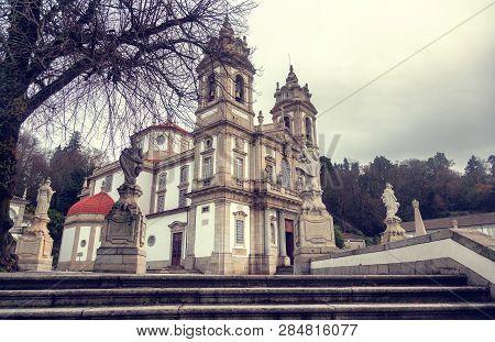 Sanctuary Of Bom Jesus Do Monte. Popular Landmark And Pilgrimage Site In Northern Portugal.