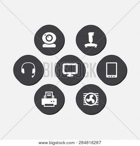 Set Of 7 Notebook Icons Set. Collection Of Tablet, Web Cam, Printer And Other Elements.
