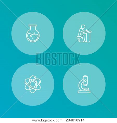 Set Of 4 Studies Icons Line Style Set. Collection Of Microbiology, Flask, Student And Other Elements