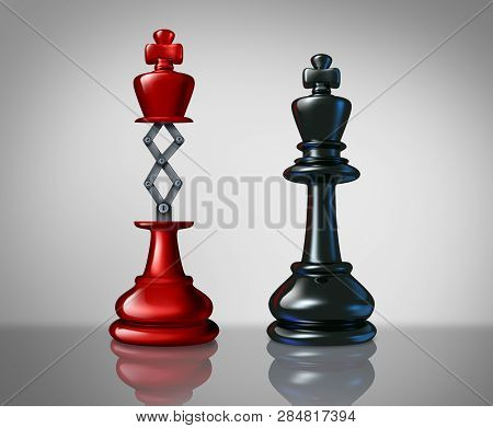 poster of Secret weapon business success concept with a red chess king rising above a competitor leader with a hidden innovative tool as a metaphor for innovation and corporate strategy or planning to win the game as a 3D illustration..