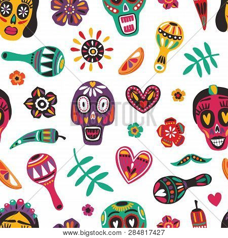 Motley Seamless Pattern With Mexican Sugar Skulls, Catrinas Face, Flowers, Maracas On White Backgrou