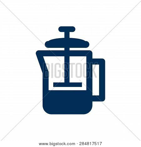 Isolated Pot Icon Symbol On Clean Background.  French Press Element In Trendy Style.
