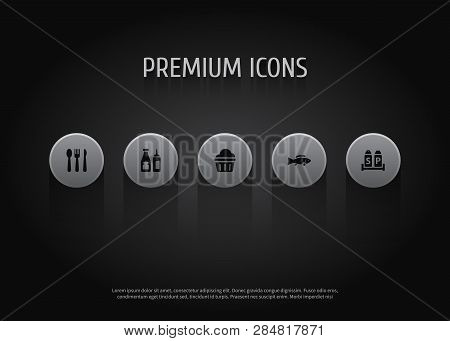 Set Of 5 Bar Icons Set. Collection Of Cutlery, Cupcake, Sauce And Other Elements.