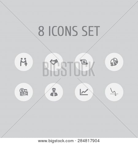 Set Of 8 Finance Icons Set. Collection Of Diagram, Crisis, Handshake Elements.