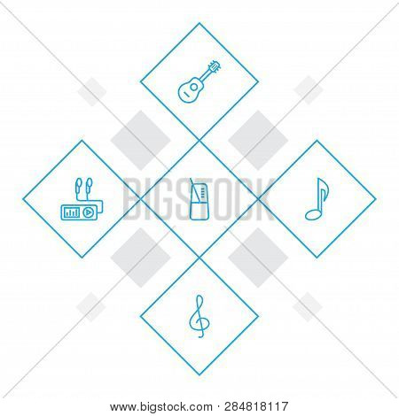 Set Of 5 Melody Icons Line Style Set. Collection Of Audio Player, Note, Metronome And Other Elements