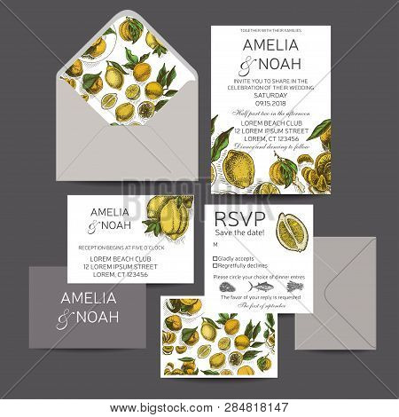 Template For Wedding Invitation. Card Vector Illustration With Citrus Fruits.