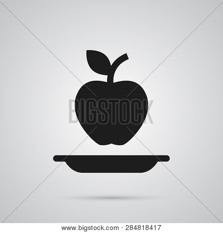 Isolated Healthy Eating Icon Symbol On Clean Background.  Apple Element In Trendy Style.