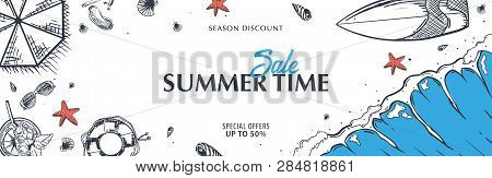 Summer Beach Background. Sea Holiday. Linear Graphic. Engraved Top View Illustration. Wave, Surfboar
