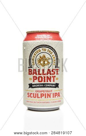 Irvine, Calfornia - February 17, 2019: A Single Can Of Ballast Point Grapefruit Sculpin Ipa, With Co