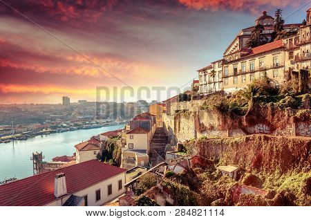 Porto, Portugal Old Town Skyline At Sunset, Beautiful Cityscape