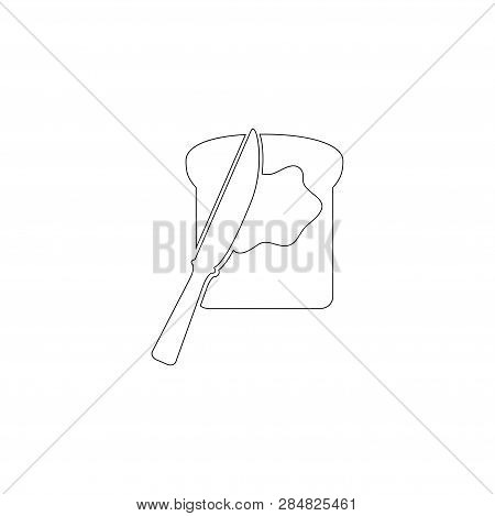 Toast Bread Slice With Butter And Spreading Knife. Simple Flat Vector Icon Illustration. Outline Lin