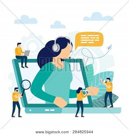 Call Center, Customer Support. Hotline Operator Advises Client. Online Technical Support. Vector Ill