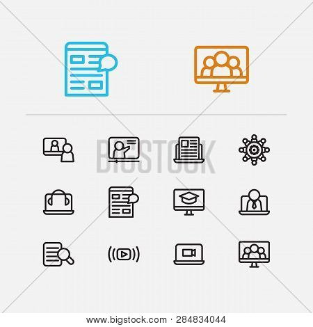Webinar Icons Set. Video Stream And Webinar Icons With Headphone Laptop, Education E-learning And Vi