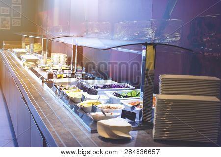 Breakfast Buffet At Hotel Restaurant Interior For Background