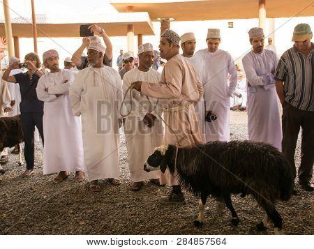 Nizwa, Oman - November 2, 2018: Omani Man Shows Sheep For Auction At The Nizwa Animal Market