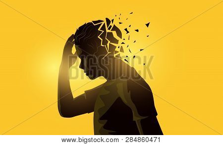 A Stressed Out Adult Male Man Holding His Head. Mental Health Awareness Concept. Vector Illustration