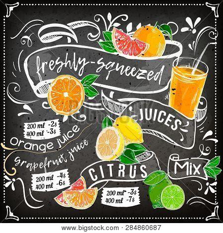 Juice Menu Placemat Drink Restaurant Brochure, Dessert Template Design. Vintage Creative Beverage Te
