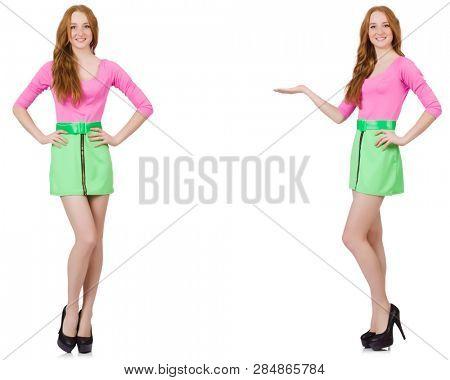 Beautiful woman in green skirt  poster
