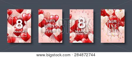 Womens Day Background With Red Balloons, Heart Shape.confetti And Ribbon. Love Symbol. March 8. I Lo