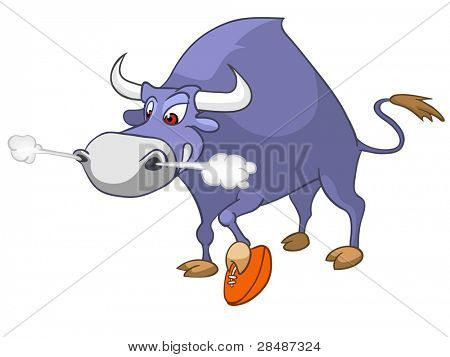 Cartoon Character Bull Isolated on White Background. Vector.