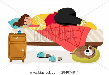 Sick Woman In Bed. Menstrual Pain, Woman Health Vector Concept. Illustration Of Woman Ill, Person Ch