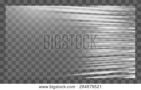 Realistic Stretched White Plastic Warp. Polyethylene Background. Vector Transparent Cellophane Mocku