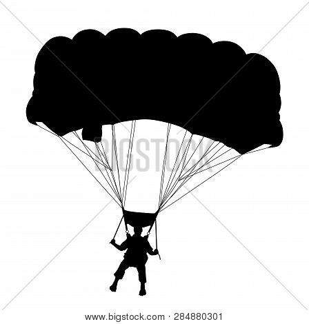 Skydiver Flying With Parachute. Isolated White Background. Eps File Available.
