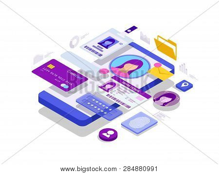 poster of Isometric Personal Data Information App, Identity Private Concept. Digital data Secure Banner. Biometrics technology vector illustration for personal identity recognition and access authentication.