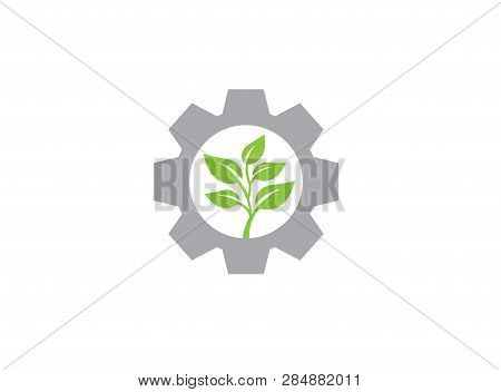 Leaves With Pinion Gear For Logo Design