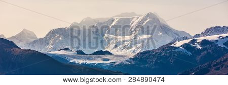 Alaska mountains range landscape banner at dusk sunset on cruise travel destination, USA.