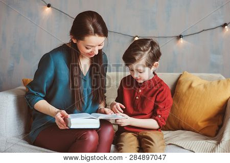 Happy Mother Reading Book To Child Son At Home, Learning Toddlers To Read, Family Life Concept