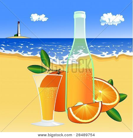oranges and a glass of juice on the beach