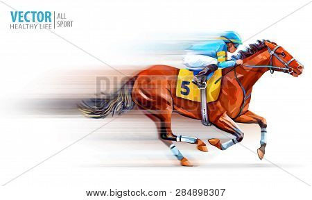 Jockey On Racing Horse. Champion. Hippodrome. Racetrack. Horse Riding. Vector Illustration. Derby. S