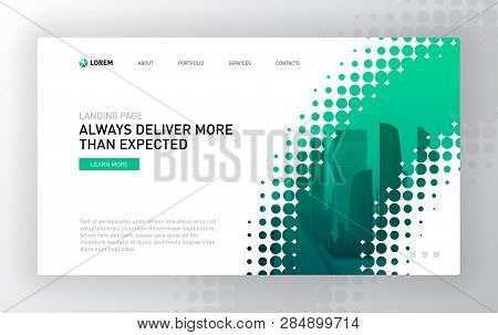 Landing Page Template For Business. Modern Web Page Design Concept Layout For Website. Vector Illust