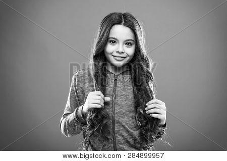 Teaching Child Healthy Hair Care Habits. Strong Hair Concept. Kid Girl Long Healthy Shiny Hair. Main